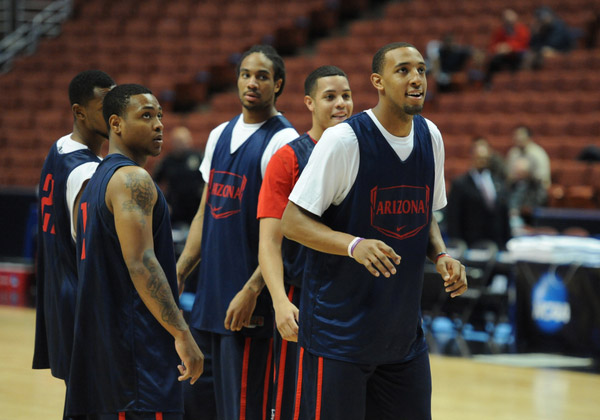 Arizona Wildcats practice for the Sweet Sixteen round of the Division I Men's NCAA Basketball Tournament