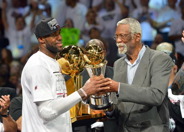 NBA great Bill Russell presents the MVP trophy