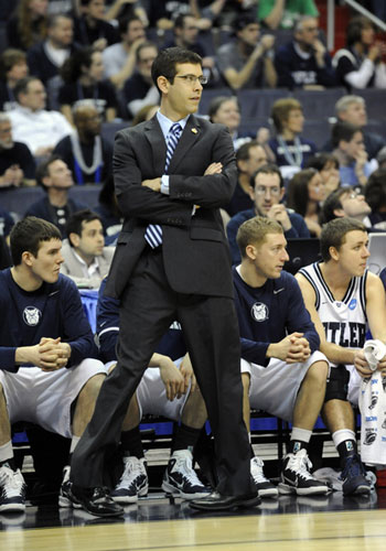 Head coach Brad Stevens of the Butler Bulldogs