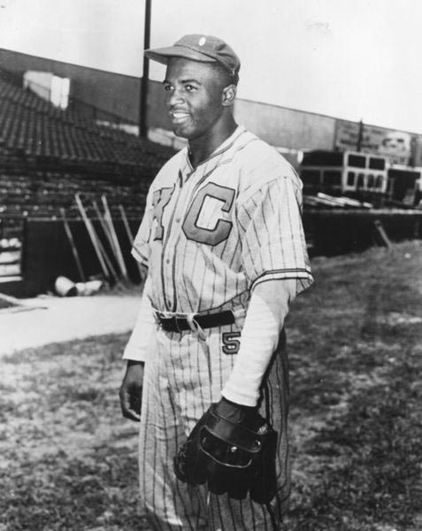 Jackie Robinson in uniform for the Kansas City Monarchs