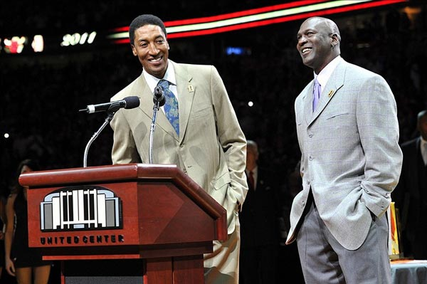 Chicago Bulls former players Michael Jordan and Scottie Pippen