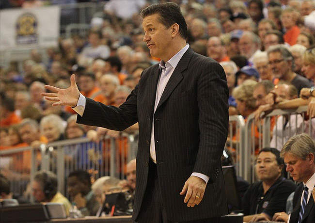 Kentucky Wildcats head coach John Calipari Reacts