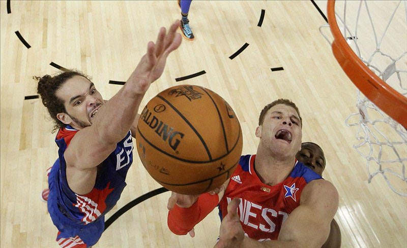 Eastern Conference Center Joakim Noah (left) and Western Conference Forward Blake Griffin
