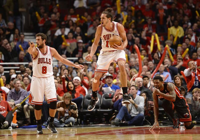 Chicago Bulls center Joakim Noah reacts to a call against the Miami Heat