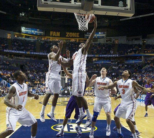 Florida Gators Center Patric Young Blocks a Shot