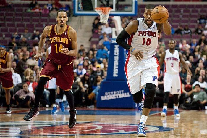 Detroit Pistons Center Greg Monroe Brings the Ball