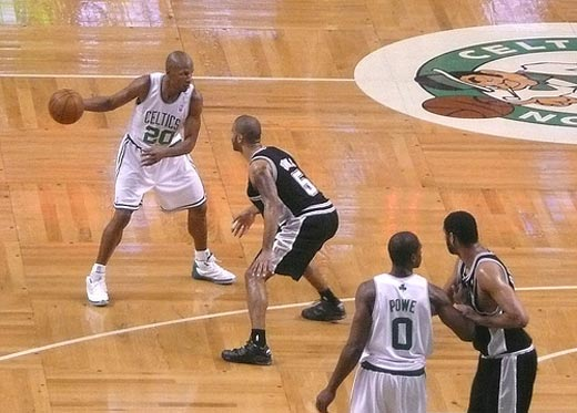 ray allen shooting a basketball. Ray Allen heavily guarded