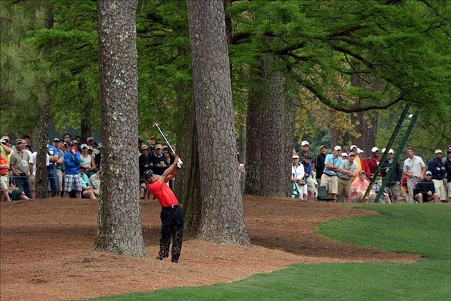 Tiger Woods hits at Augusta National Golf Club