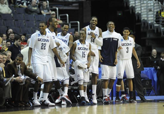 UConn celebrates the win.